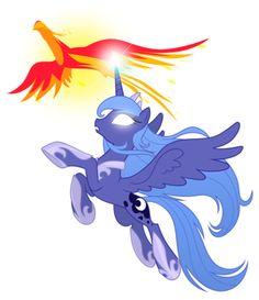 Princess Luna and Philomena by artist-equestria-prevails.