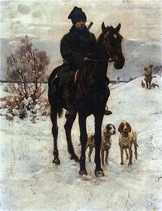 Hunt by Władysław Podkowiński - French Impressionist Painters, Horses And Dogs, Kylie Minogue, Winter Landscape, Dog Art, Beautiful Paintings, Painting Inspiration, Art History, Landscape Paintings