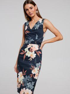 Peach Blooms Pencil Dress   Portmans Online