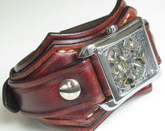 Leder Leder Armbanduhr Watch Manschette Steampunk-Uhr Herren