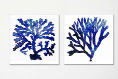 Sistema de impresión de mar vida arte. Siluetas de dos algas azules en orientación horizontal contra un fondo blanco mate. • Impresos profesionalmente con fade resistente a tintas. Las impresiones son sin marco. • Los tamaños más grandes están disponibles: hasta 17 x 22! -a