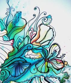 I love the watercolor abstracts of flowers, leaves, and water as well as the beautiful colors Colleen uses in her work. Abstract Watercolor, Watercolor And Ink, Hawaiian Art, Maori Art, Boho Stil, Hippie Art, China Art, Surf Art, Beach Art