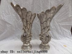"13"" Chinese Silver Phoenix Zun Statue Peacock Tail Peafowl Head Pot Vase Pair"