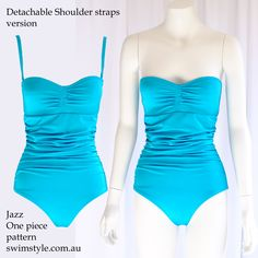 Jazz One piece sewing pattern  by Swim Style  Detachable shoulder straps & Strapless style