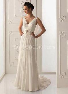 Easter Day Promotion: $200 or more, save $10:Stylish A-line V-neckline Sweep Train Applique Chiffon Wedding Dress-SinoSpecial.com