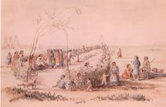 Seton, George, 1819-1905,  Cree Indians Celebrating a Dod Feast, Rupert's Land, 13 Sept. 1857, watercolour, Public Archives of Canada C-1063.