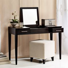 I love the art deco look of this vanity from West Elm