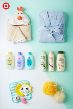 Spa day for two! Pamper yourself and your baby this Mother's Day with a relaxing at-home retreat. A luxurious spa robe, Aveeno all-natural shampoo, conditioner and body wash for you. And, a sweet hooded bath towel, Johnson's baby products and fun bath time essentials for your little one.
