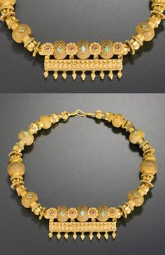 India ~ Rajasthan | 'Happiness necklace' ~ tamania | Gold, turquoise | Mid 1900s