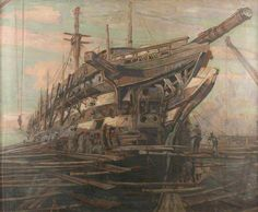 BBC - Your Paintings - The Restoration of HMS 'Implacable'