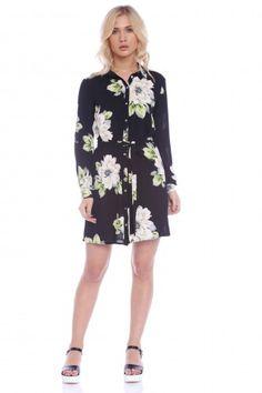 Rochie de zi cu imprimeu floral AM-21709002 negru -  Ama Fashion Dresses With Sleeves, Long Sleeve, Floral, Casual, Fashion, Moda, Sleeve Dresses, Long Dress Patterns, Fashion Styles