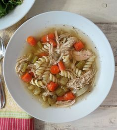 Chicken Noodle Soup in a Crockpot - A traditional, healthy chicken noodle soup made with carrots, celery, onion and seasonings, slow cooked in the crockpot.