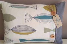 Nautical Fish Cushion Complete With A Feather Pad - John Lewis Fabric - Coastal