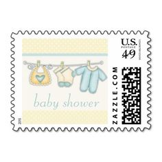 Clothesline Baby Clothes Baby Shower Stamps