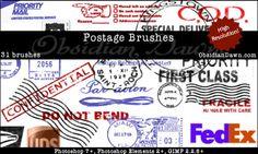 郵便スタンプをテーマにした、色々な種類のフォトショップブラシセット