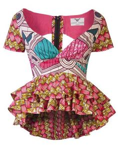 Joanna Peplum Pink African Print Top - OHEMA OHENE AFRICAN INSPIRED FASHION  - 1