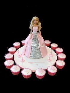 Pink & Silver Barbie Cake with Cupcakes by Relznik, via Flickr