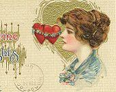 Samuel Schmucker Beautiful Edwardian Lady in Profile Red and Gold Hearts on Vintage John Winsch Valentine's Day Postcard