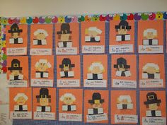 We read The Prize Pumpkin and brainstormed what we were thankful for. Then we created TLC pilgrim boys and girls and wrote what we were . Thanksgiving Bulletin Boards, Thanksgiving Activities, Thanksgiving Crafts, Fall Crafts, Holiday Crafts, Holiday Ideas, Turkey Kindergarten, Kindergarten Classroom, Classroom Ideas