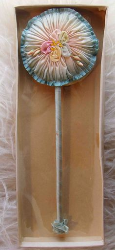 Circa 1920s Exquisite Never Used Smocked Ombre Silk Powder Puff Wand Adorned With A Ribbon Rosette Still In Its Original Box