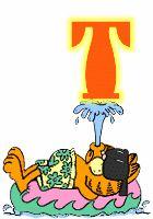 Alfabeto animado de Garfield nadando. | Oh my Alfabetos!