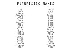 Character/Genre Based Names [Futuristic]