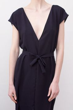 Deep v neck little tie.  Would be nice in a soft vintage tshirt jersey
