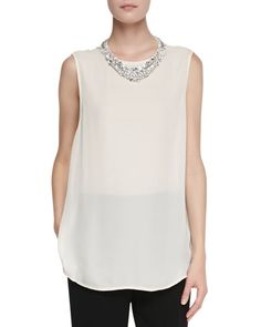 T8JPG Haute Hippie Sleeveless Blouse with Jeweled Collar