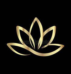 Illustration of Gold lotus yoga logo vector vector art, clipart and stock vectors. Art Lotus, Lotus Kunst, Wolf Tattoos, Finger Tattoos, Tatoos, Logo Lotus, Logo Fleur, Yoga Logo, Harry Potter Tattoos