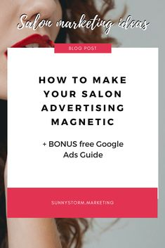 Learn how to make magnetic Google Ads for your salon or spa in order to get more business. Read my Google Ads for Salons guide here! Salon Business, Business Ideas, Online Business, Pay Per Click Marketing, Salon Promotions, Google Ads, Digital Marketing Strategy, Advertising, Spa