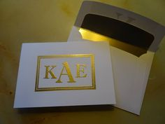 Stampin Up Sophisted Serifs notecard embossed in gold with matching lined envelope
