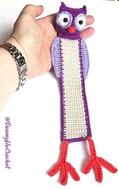 Chouette Hibou Marque pages en coton violet au crochet
