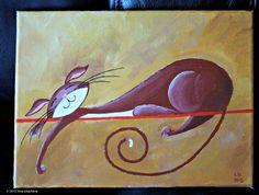 Original Acrylbild der Katze zu verkaufen von NaturelandsAndCo