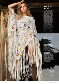 A fringe-embellished poncho designed by Emilio Pucci spotlights the bohemian trend.