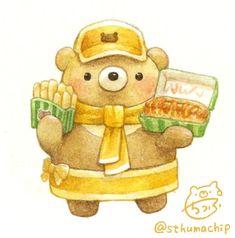 Cute Animal Drawings, Kawaii Drawings, Cute Drawings, Kawaii Illustration, Character Illustration, Bunny Drawing, Doodle, Bear Art, Cute Chibi