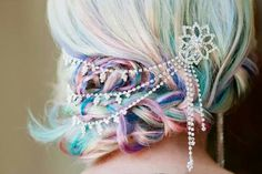 Bridal hairstyles, updo, alternative bright colors, so amazing.