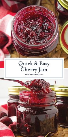 Whether you're a seasoned pro or learning how to make homemade jam, this cherry jam recipe is easy and addictive. With canning instructions included you can whip up a batch and be enjoying a vanilla infused sweet cherry jam in 45 minutes. Cherry Jelly Recipes, Fruit Recipes, Dessert Recipes, Desserts, Sweet Cherry Jelly Recipe, Jalapeno Recipes, Bacon Recipes, Canned Bacon Jam Recipe, Easy Jam Recipes