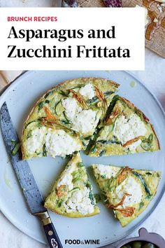 This Asparagus and Zucchini Frittata recipe incorporates zucchini, asparagus, eggs, and ricotta to create a savory and rich breakfast recipe. Whether you're making this frittata dish for breakfast or brunch, it's a great choice for a summer recipe – but we'd eat it all year round!#zucchinirecipes #frittatarecipes #brunchrecipes #breakfastrecipes #summerrecipes #summerbrunchrecipes Best Brunch Recipes, Summer Recipes, Breakfast Recipes, Zucchini Frittata, Frittata Recipes, Brunch Dishes, Asparagus Recipe, Ricotta, Wine Recipes