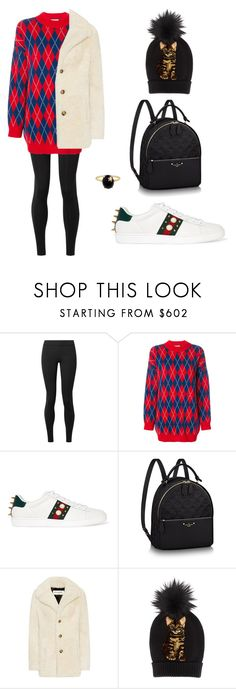 """""""casual argyle"""" by needlework ❤ liked on Polyvore featuring The Row, Gucci, Yves Saint Laurent, Dolce&Gabbana, Andrea Fohrman, louisvuitton, gucci and Shearling"""