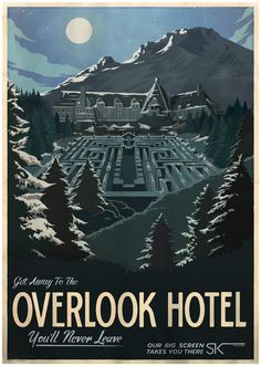 Movie destinations posters, mid-century travel poster style : Overlook Hotel, The Shining.