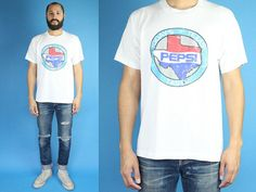 Pepsi Today's Texas Taste Vintage XL White Tee Shirt 80s 90s Vintage Short Sleeve White Pepsi Cola T-Shirt Paper Thin Pepsi Texas Tee by DiveVintage from Passport Vintage. Find it now at http://ift.tt/2ghik65!