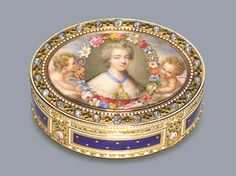 A Fine Louis XVI Jewelled and Enamelled Gold Snuff Box with a Miniature depicting the Comtesse Dubarry (1741-1793)