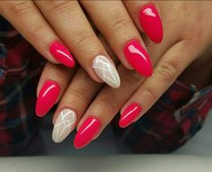Red nude geometric nails