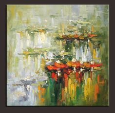 "30""x30"" Original Palette Knife Art Oil Painting Water Lilies | eBay"