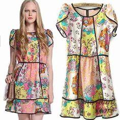 Colored print chiffon cute dress Size M Elegant Dresses, Cute Dresses, Summer Dresses, Short Women Fashion, Print Chiffon, Little Dresses, Retro Dress, Ideias Fashion, Fashion Dresses