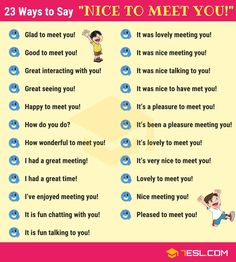 "Nice to Meet You! Learn different ways to say ""Nice to Meet You"" in English with ESL image to improve your English speaking skill. Improve English Grammar, English Learning Spoken, English Writing Skills, English Vocabulary Words, Learn English Words, English Phrases, English Idioms, English Language Learning, English Lessons"
