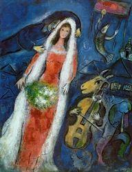 저번에 조사한 모네처럼, 샤갈 또한 그의 아내를 너무나 사랑했고 이는 수많은 아내를 대상으로 한 작품에서 알 수 있다. 아내 벨라는 그의 일생에서 꽃과 같은 존재여서, 아내가 죽은 후 실제로 9개월동안이나 아무 그림도 그리지 않았다고 한다. 일단 그의 작품만을 보면, 그 역시 색채를 예술적으로 조화시키고 있다. 그리고 그의 비상한 작품구도와 몽환적인 분위기는 보는 사람으로 하여금 어떤 동화 속의 세계를 떠올리게 하는 것 같다.