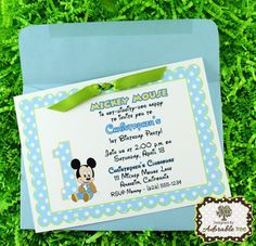 Baby Mickey Mouse Invitations  Handmade Single by AdorableTree, $19.90