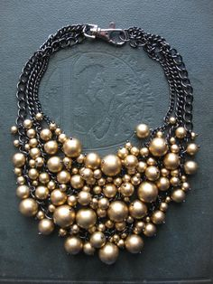 Black and Gold Statement Bib Necklace Holiday by savagesalvage
