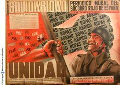 Solidaridad: periódico mural del Socorro Rojo de España: los combatientes unidos exigen la unidad de todo el pueblo :: Cartells del Pavelló de la República (Universitat de Barcelona)